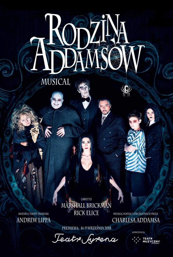 """Plakat do spektaklu """"Rodzina Addamsów"""", Teatr Syrena w Warszawie. Autor plakatu: Mariusz Napierała. Fot. Bartosz Warzecha"""