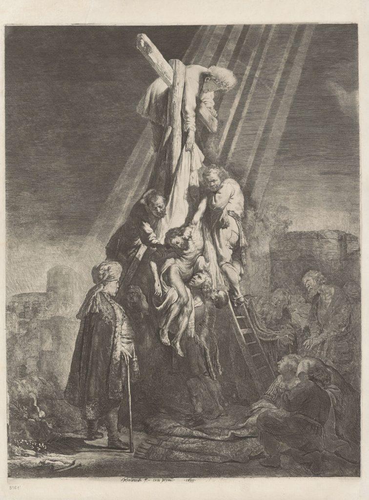 """Rembrandt van Rijn, """"Zdjęcie z krzyża (Druga płyta)"""", 1633. Obiekt udostępnia: PAUart Katalog zbiorów artystycznych i naukowych Polskiej Akademii Umiejętności."""
